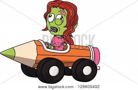 Zombie girl playing pencil car .eps10 editable vector illustration design