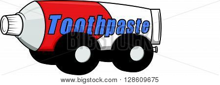 Tooth paste car toy  .eps10 editable vector illustration design
