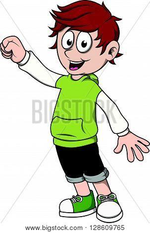 Boy give a support cartoon illustration .eps10 editable vector illustration design