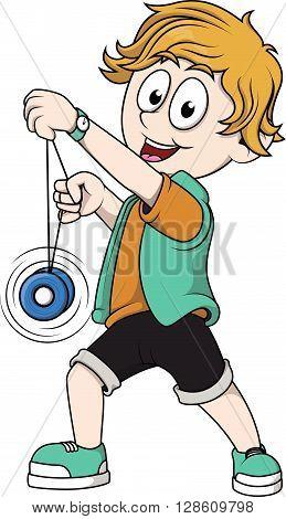 Boy playing yoyo cartoon illustration .eps10 editable vector illustration design