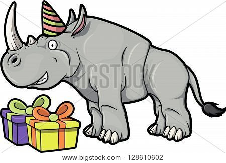 Rhino with gift using Birhtday party costume  .eps10 editable vector illustration design