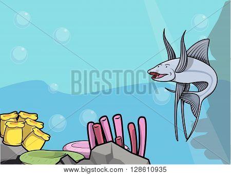 Tripod fish illustration under water scenery .eps10 editable vector illustration design