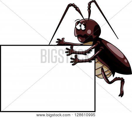 Cockroach illustration with blank banner .eps10 editable vector illustration design