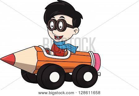Boy Driving car toy cartoon illustration .eps10 editable vector illustration design