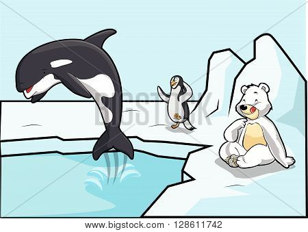 arctic pope, penguins and bear .eps10 editable vector illustration design