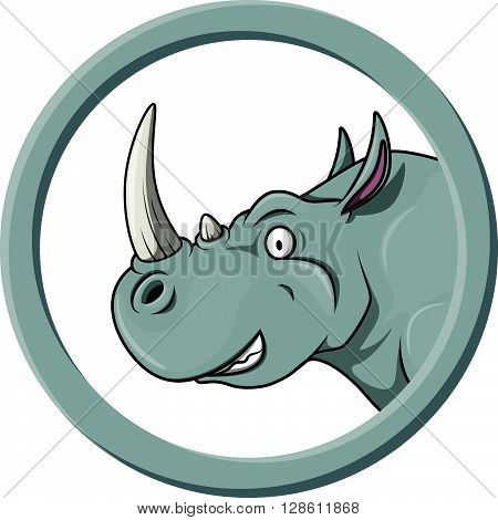 Rhino circle banner illustration .eps10 editable vector illustration design