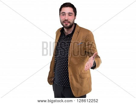 Speaking bearded man in jacket on white background