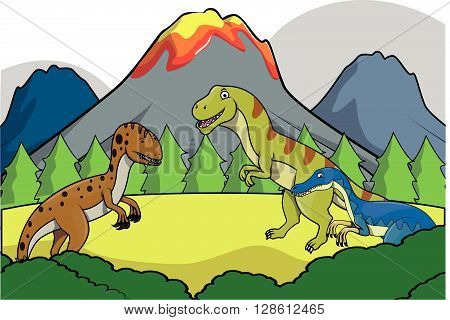 Dinosaurus group Prehistoric scenery .eps10 editable vector illustration design