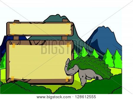 Prehistoric animal scene with blank space .eps10 editable vector illustration design