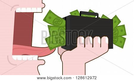 Man Eating Money. Destruction Of Suitcase With Cash. Open Mouth With Tongue And Teeth. Consumption O