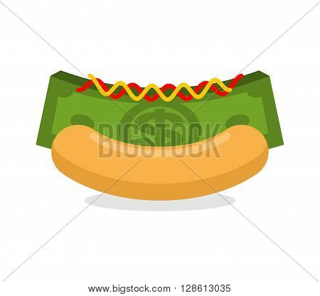Money Hot Dog. Bun And Stack Cash. Financial Fast Food. Morning Breakfast For Wealthy. Dollars With