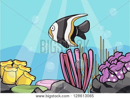 Angel fish underwater scenery .eps10 editable vector illustration design