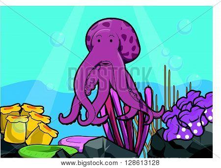 Octopus underwater scenery illustration .eps10 editable vector illustration design