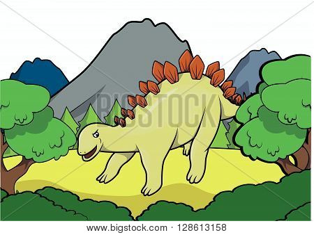 Stegosaurus Prehistoric scene illustration .eps10 editable vector illustration design
