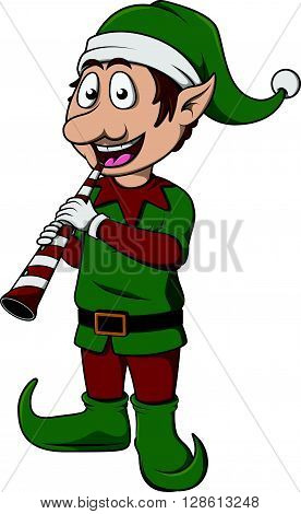 elf with christmas trumpet .eps10 editable vector illustration design