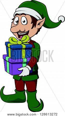Elf bring christmas gift pack .eps10 editable vector illustration design