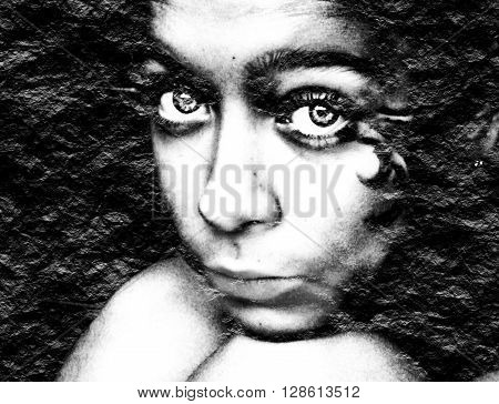 Portrait of pretty young teen girl. Black crumpled paper textured. Monochrome gamma.