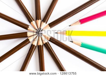 brown wooden pencil arrange as circular with one of different pencil try to close the gap on white background un-matching and competition concept