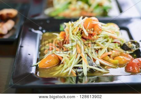 Som Tum Thai papaya salad. Traditional Thai food