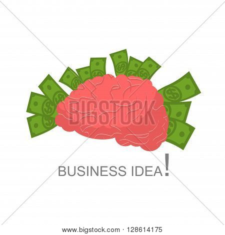 Business Idea. Human Brain And Money. Cash And Human Body. Brain On White Background. Central Body O