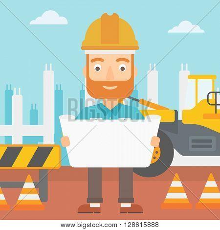 Engineer holding a blueprint.