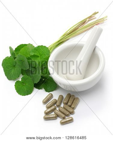 gotu kola supplement, mortar and pestle