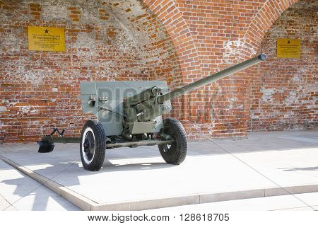 NIZHNY NOVGOROD, RUSSIA - AUGUST 28, 2015: The 57-mm divisional gun 1942 on display at the exhibition of military equipment of times of World War II in the Kremlin of Nizhny Novgorod.