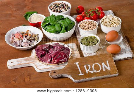 Foods High In Iron, Including Eggs, Nuts, Spinach, Beans, Seafood, Liver