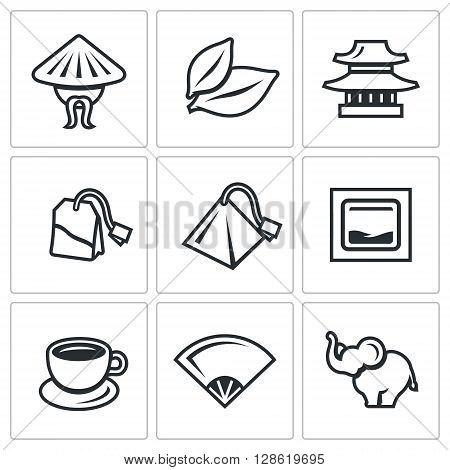 Vector Set of Tea Icons. China, Leaf, Temple, Teabag, Cup, Ceremony, Elephant