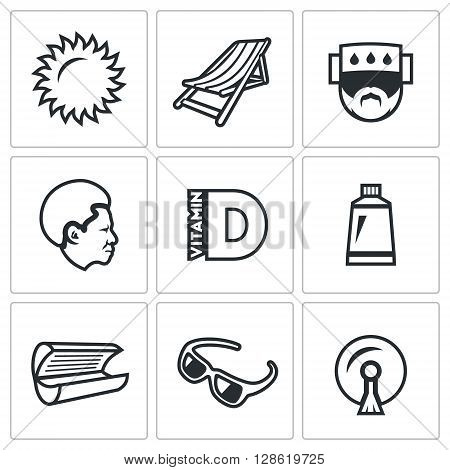 Vector Set of Sun Tanning Icons. Sun, Lounger, Sunstroke, African, Vitamin D, Tan, Solarium, Sunglasses, Stikine.