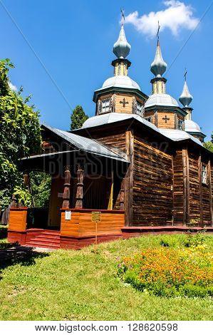 The wooden church in the sun. Ukraine.