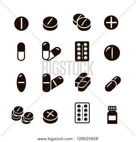 Pills and Tablets, medicines and drugs.  and capsules icons set collection.