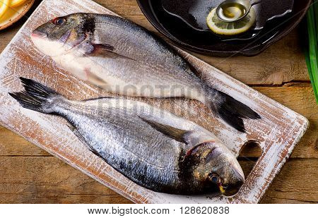 Fresh Uncooked Dorado Or Sea Bream.