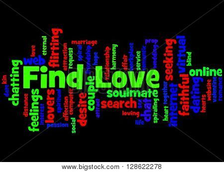 Find Love, Word Cloud Concept