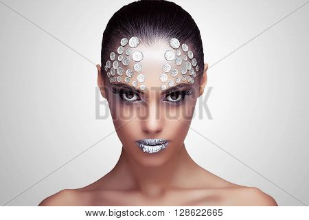 Woman With Fashion Rhinestone Make Up