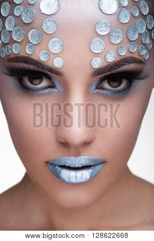 Woman Wearing Fashion Make Up With Rhinestone