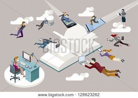 Publishing sector staff flying toward an open book and working in it.