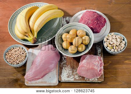 Foods Highest In Vitamin B6 On Wooden Board. Healthy Food.