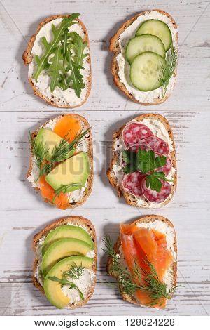 assorted healthy toast sandwich