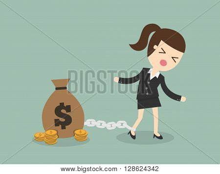 vector illustration money slave Chained To Dollar Coin