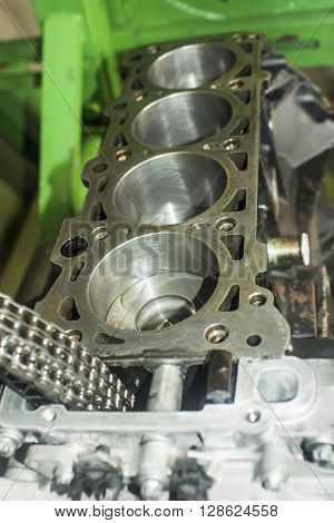 Open Block Of Four Cylinder Petrol Engine