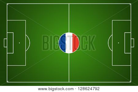 abstract green soccer field with white marks and france national colors in center point