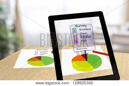 3D illustration of augmented reality with a tablet pointing an a survey paper enabling the user to take the survey online