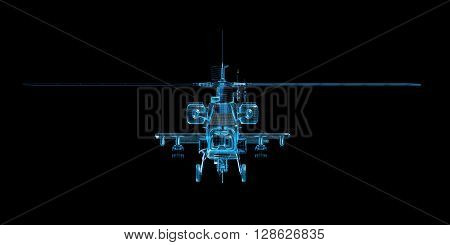 X-ray wire frame 3D rendering of game helicopter