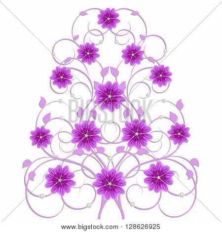 Decorative tree with mallow flowers and pearls in vintage style for use in your design. Floral vector background.