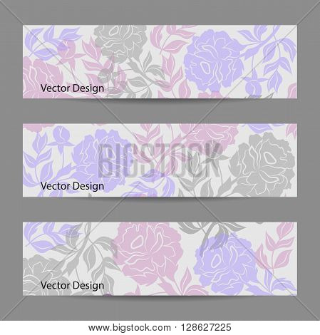 Set of horizontal banners. Vloral vector background with colored peonies.
