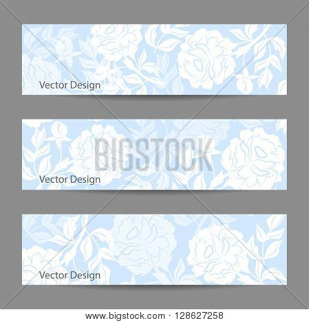 Set of horizontal banners. Blue vector background with white peonies.