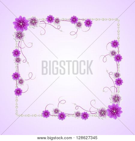 Beautiful square frame with mallow flowers and pearls for greeting card or invitation design.