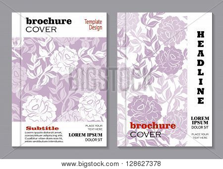 Modern vector templates for brochure cover in A4 size. Vloral vector background with peony flowers.