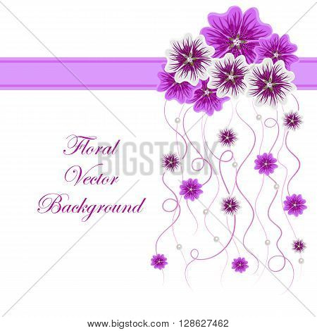 Arrangement of mallow flowers and ribbons with pearls  for greeting card or invitation design. Floral vector background.